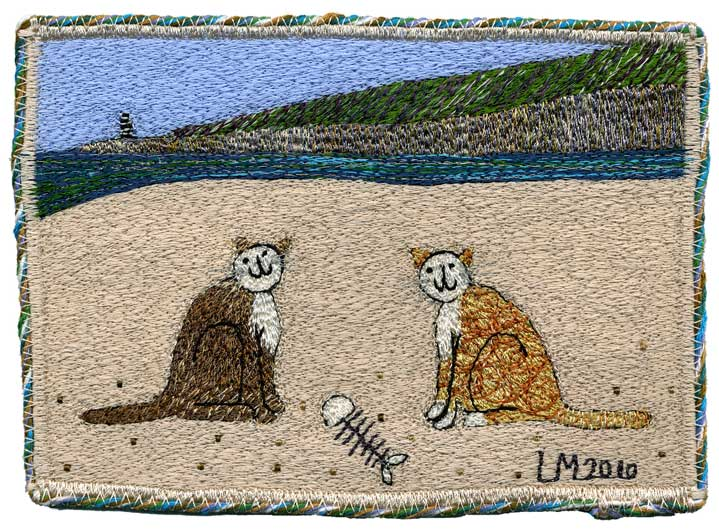 Sharing a Lunch. Machine embroidery by Linda Miller