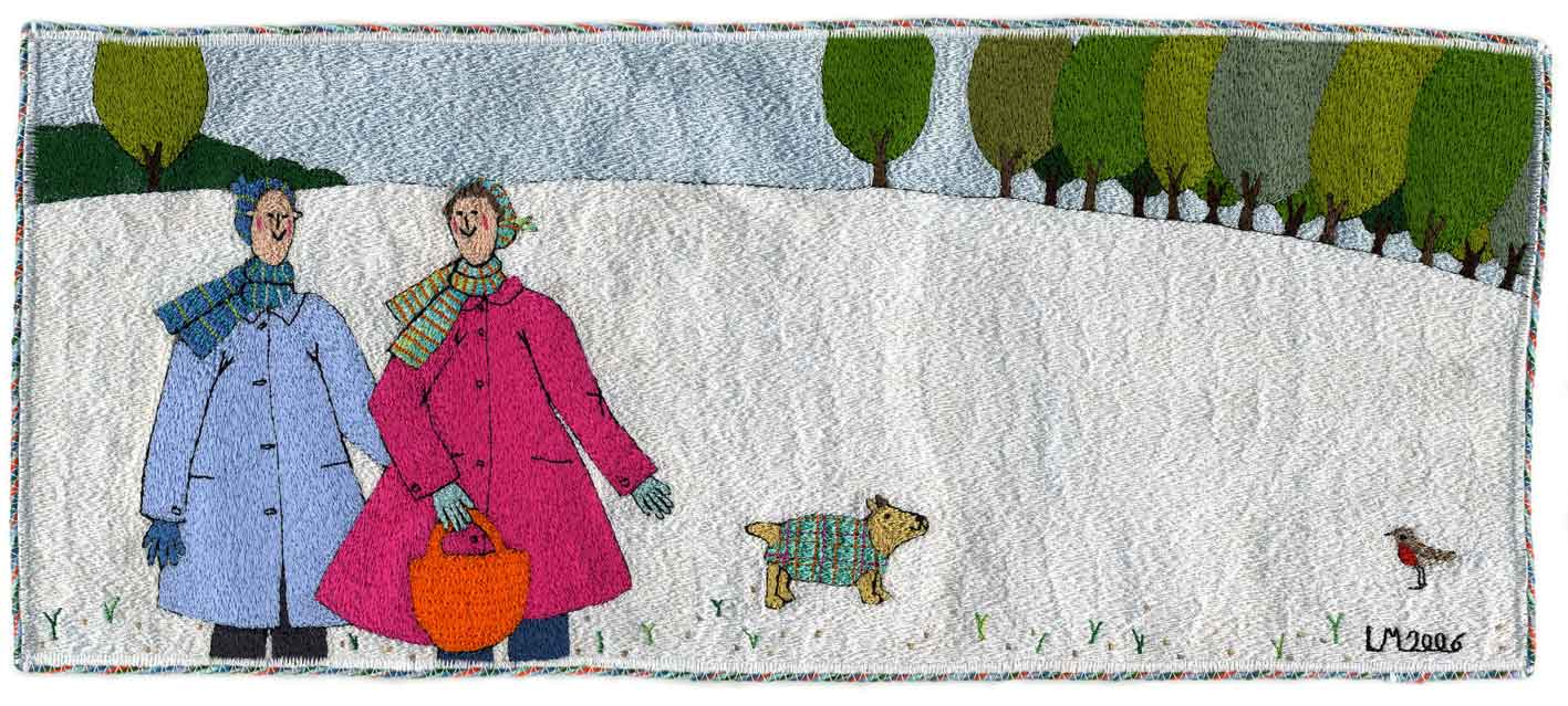 Snowy Hilltop. Machine embroidery by Linda Miller
