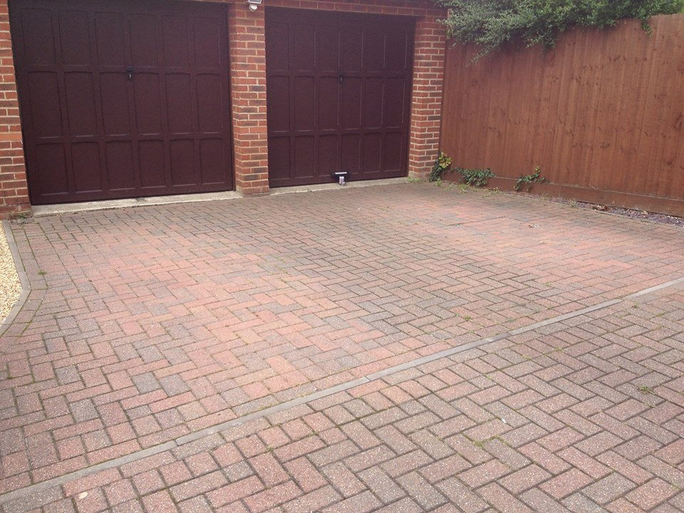 before cleaning block paving