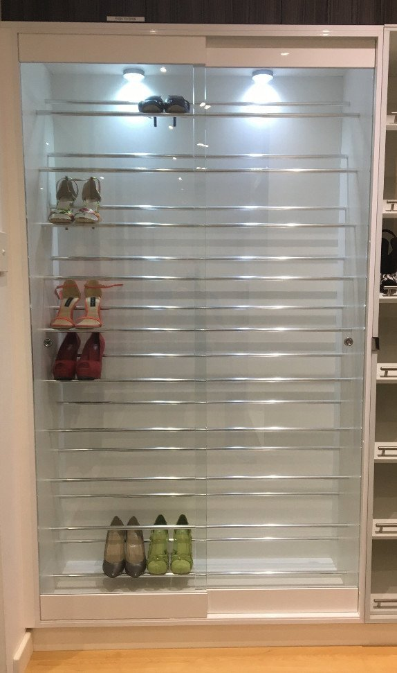 Shoe Cupboard With Glass Doors And Lights