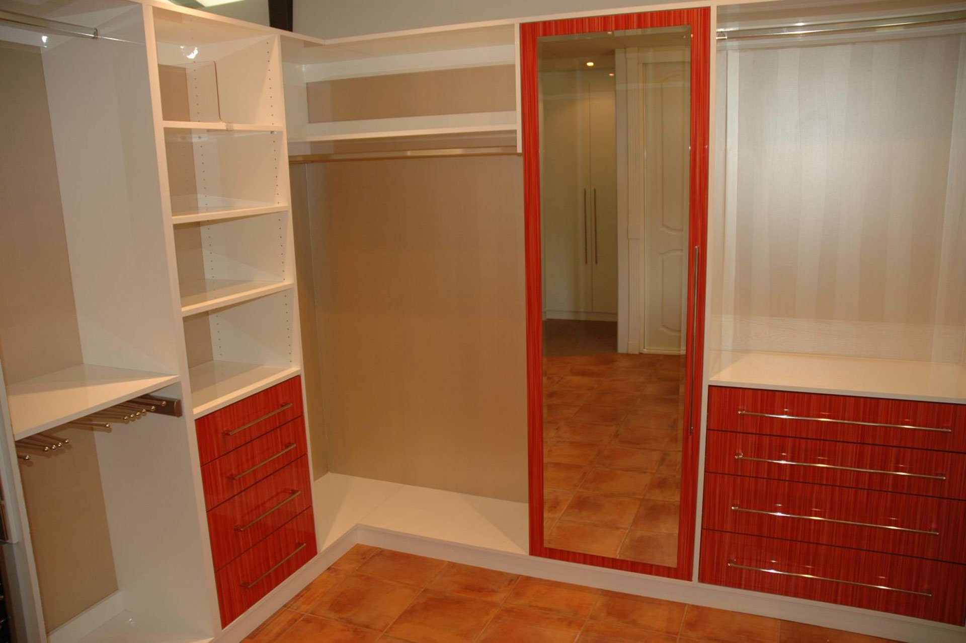custom wardrobe with red wood accent color
