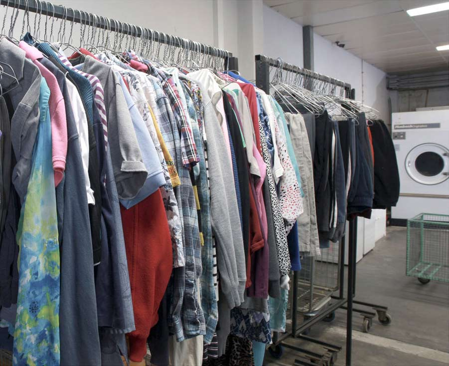 new look drycleaners laundry and linen service cloths in the hanger