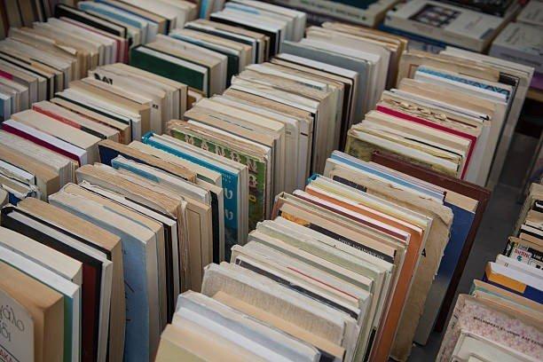 delle mensole con dei libri in una libreria