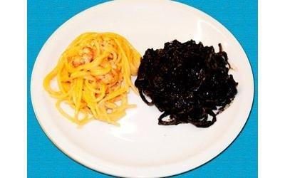 spaghetti al gambero con nero di seppia