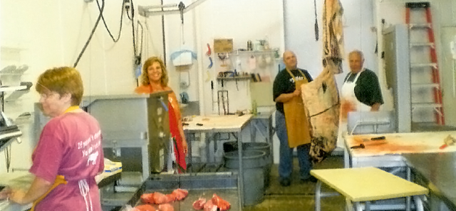 Our team at work in the slaughter house in Johnson, NE