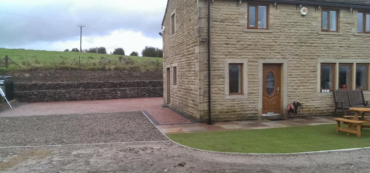 stone builing with patio