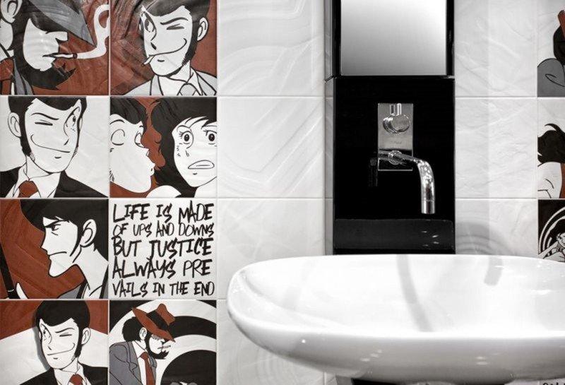 Fumetti e quote per le piastrelle del bagno