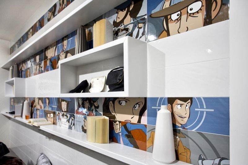 Personaggi di fumetti in parte le piastrelle che coprono la parete della camera da letto