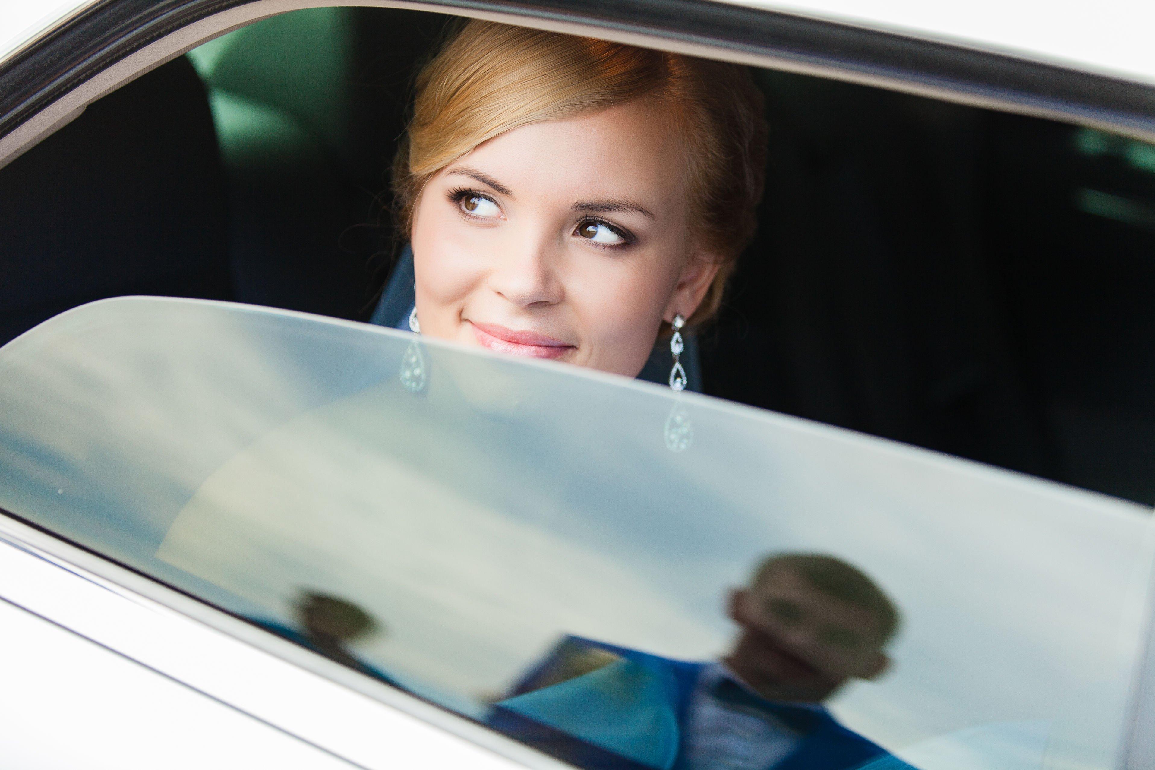 wedding car hire portrait bride and groom