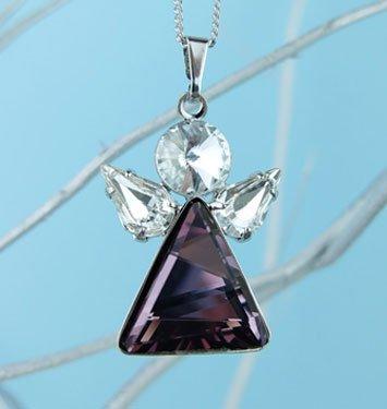 Ciondolo con forma di angel con cristalli viola e bianchi