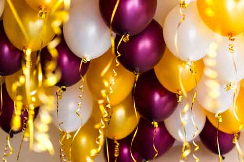 colourful balloons, golden, white, red, streamers isolated