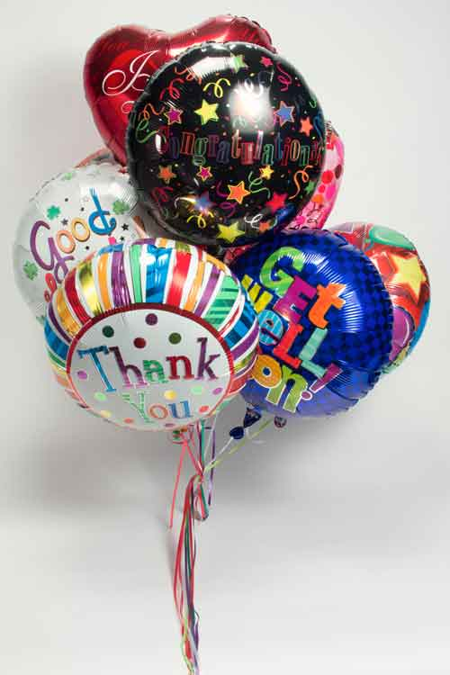 Mylar balloons tied together