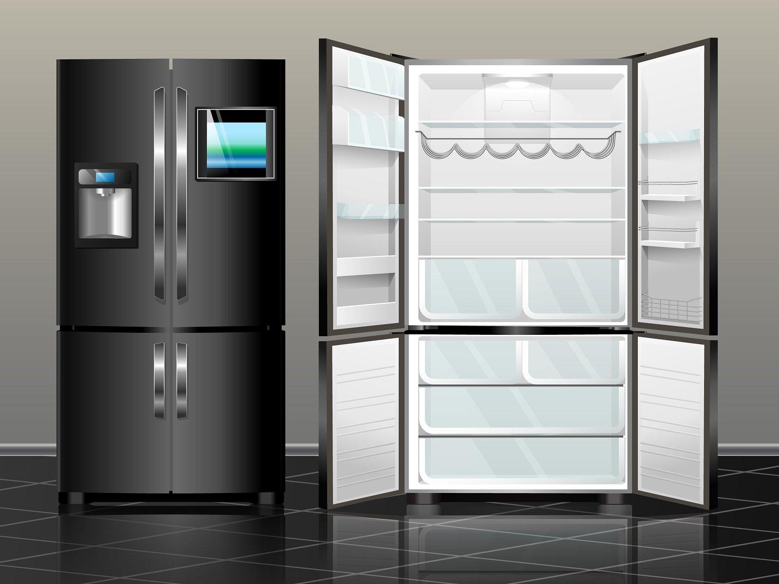 frigorifero aperto e chiuso