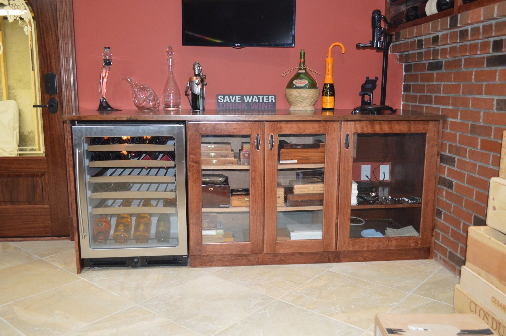 Close up of bar area