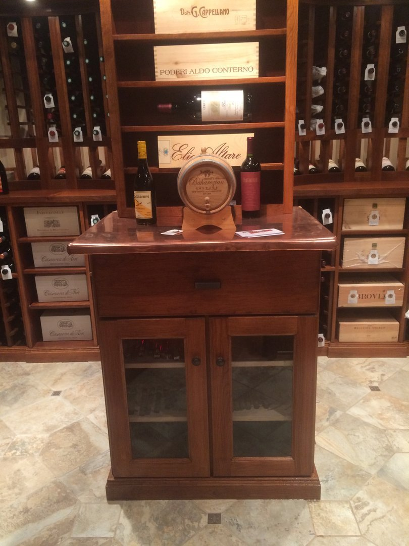 View of copper top, climate controlled humidor