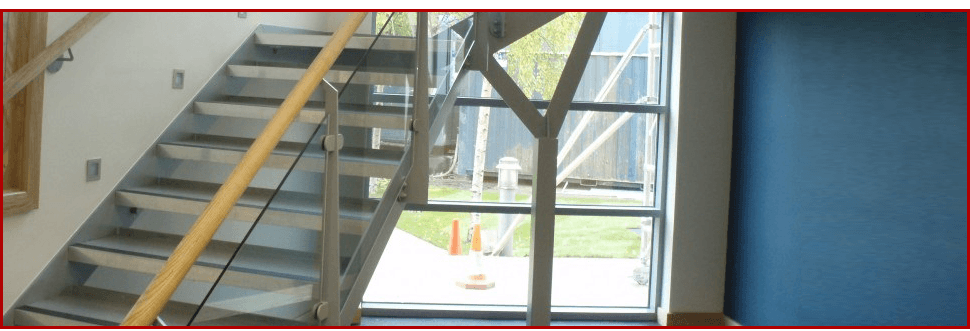 New metal staircase in an office