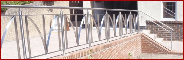 Metal railings on a path