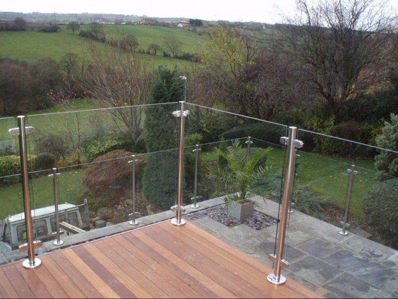 Glass balustrades on a balcony with a lovely view