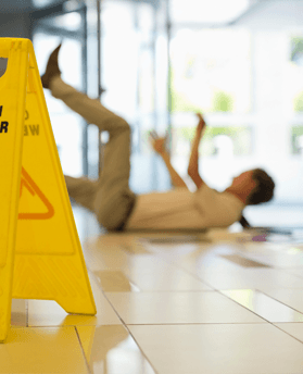 Person slipping over at work