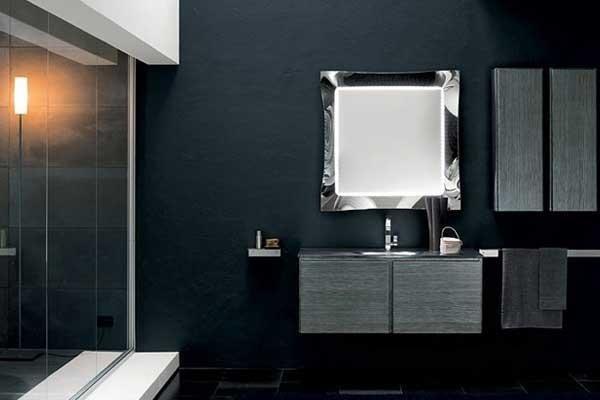 Mobile lavabo con pensile in legno grigio