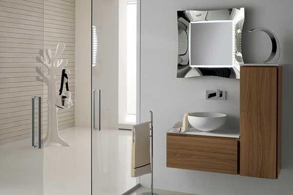Mobile lavabo con pensile in legno