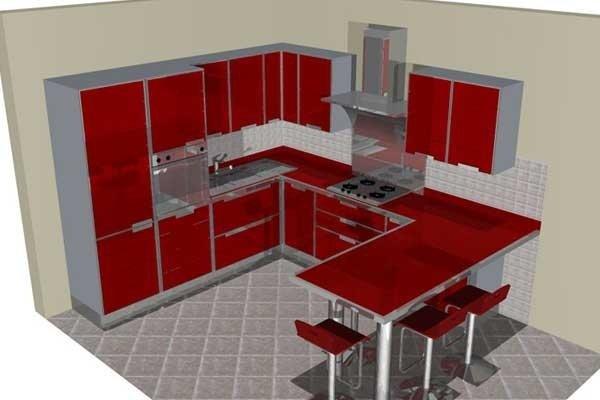 Pogetto cucina rossa con bancone
