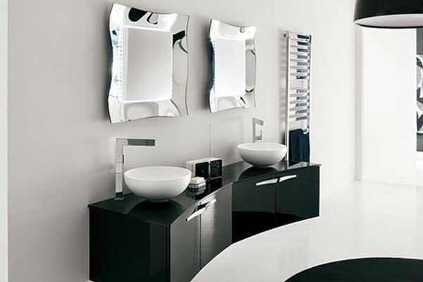 Mobile lavabo doppio nero lucido