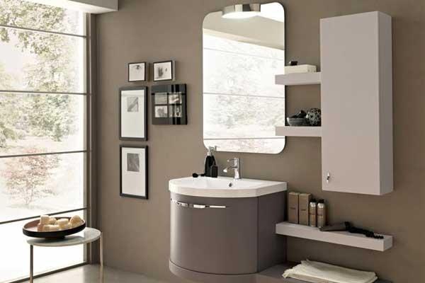 Mobile lavabo ovale grigio e bianco