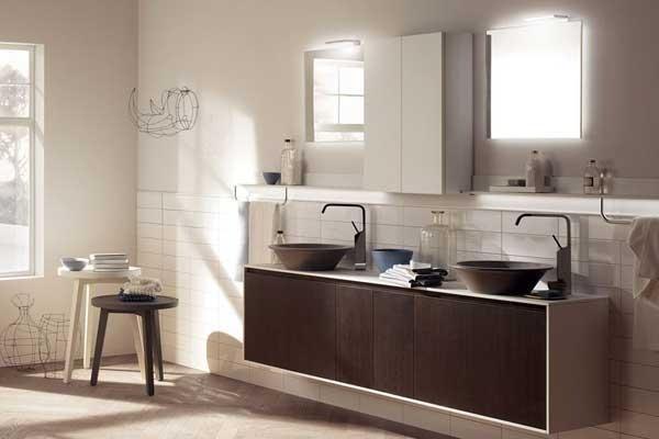 Mobile lavabo legno scuro e beige