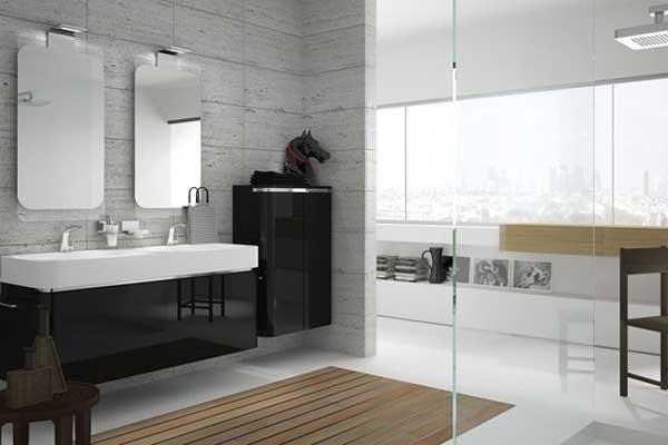 Mobili bagno nero lucido