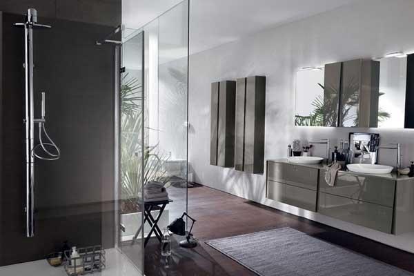 Mobile bagno grigio lucido