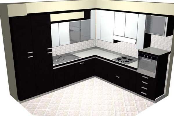 Progetto cucina angolare nera