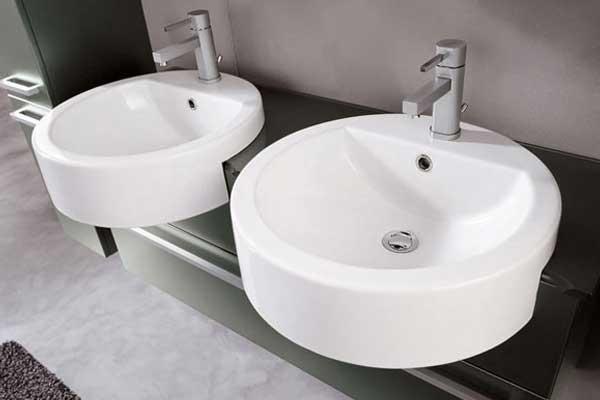 Doppio lavabo ovale