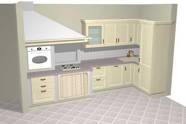 Progetto cucina in muratura legno