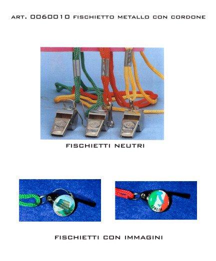 dei fischietti in metallo con cordini colorati e alcuni con delle immagini