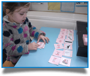 girl matching words to pictures