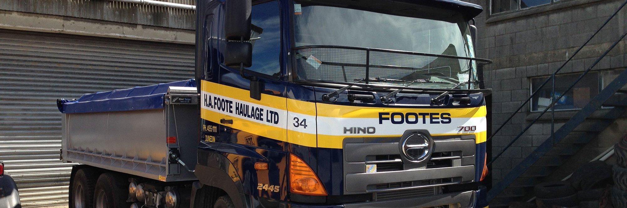Trucks providing haulage for a timber company in Dunedin