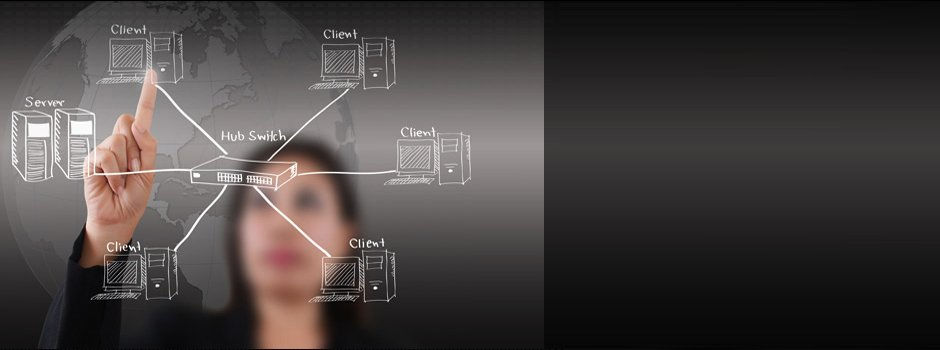 A woman pointing at a diagram of a network, with servers, clients and the hub switch