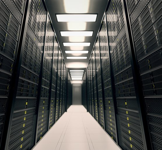 A corridor lined with servers