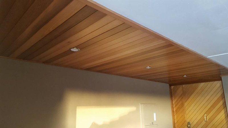 wood boarding on the ceiling