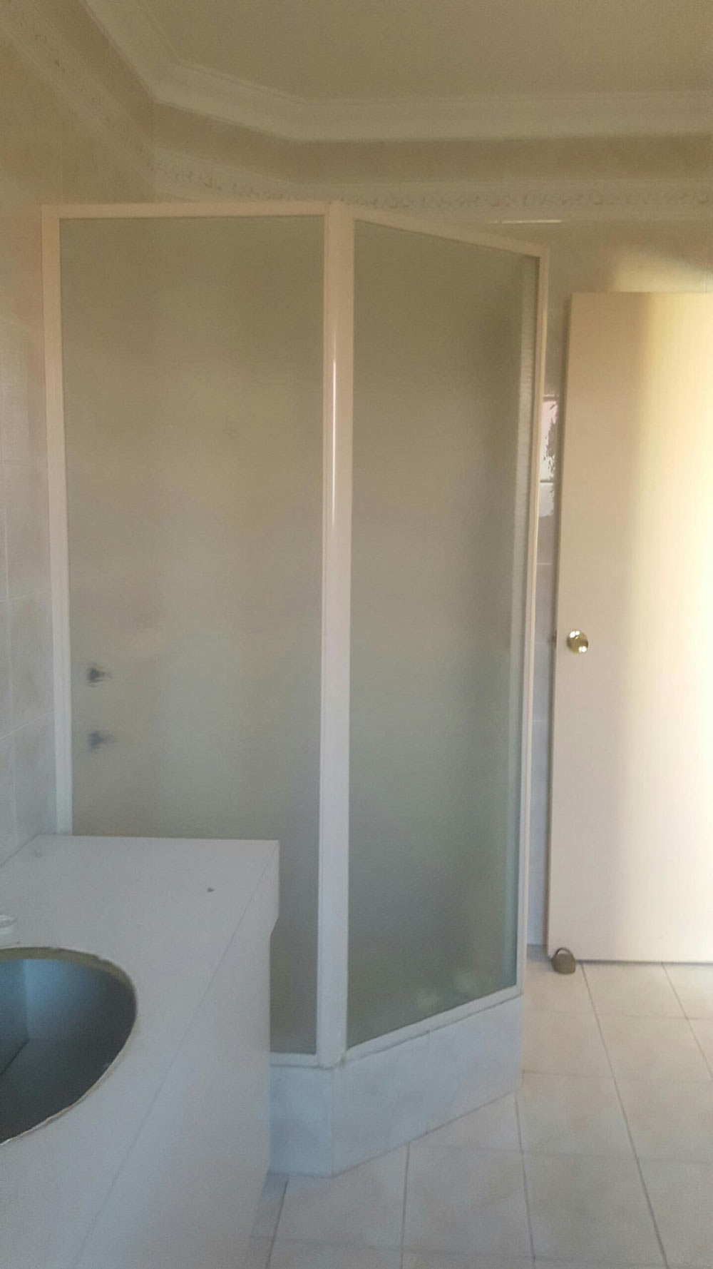 corner shower in a bathroom