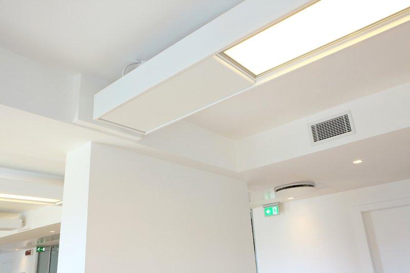 cassone nel controsoffitto con illuminazione led