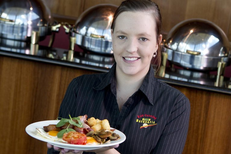 Waitress with plate of food
