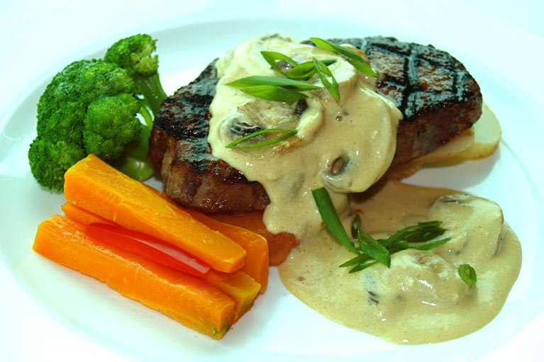 Steak and vegetable