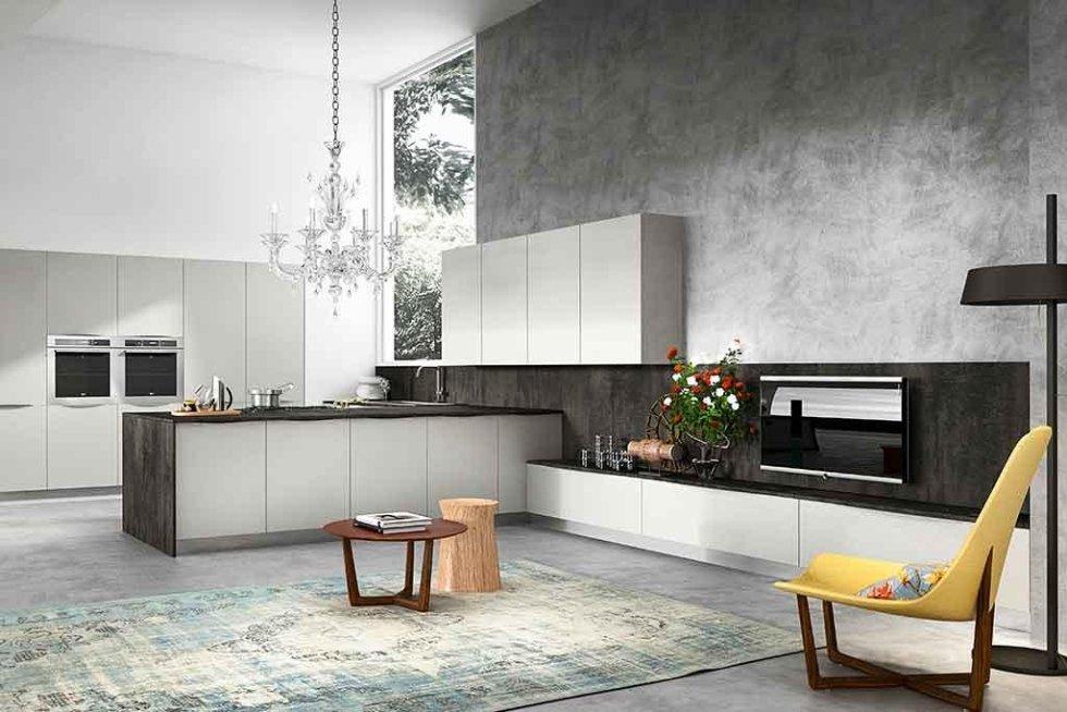 Progetto cucina con tv a parete