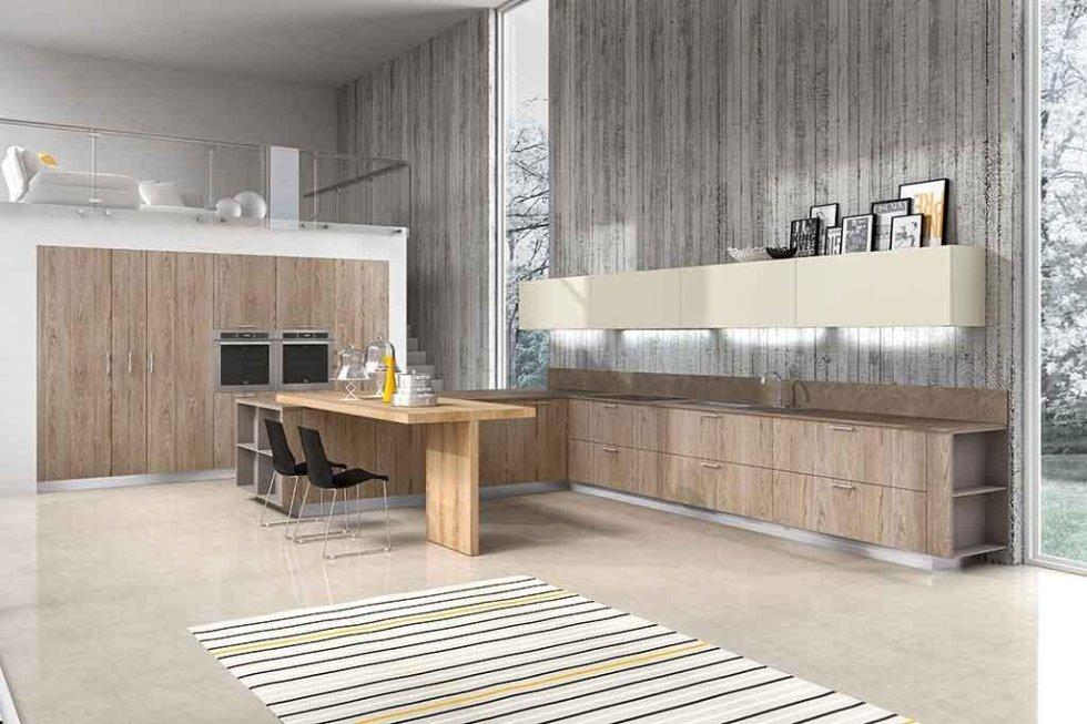 Progetto cucina con isola in legno