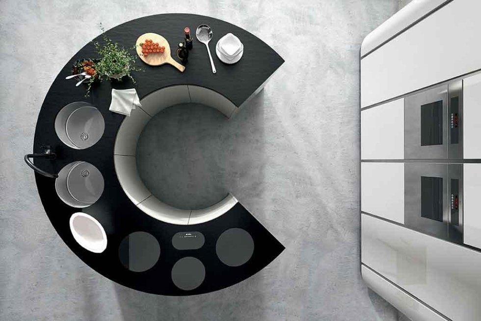 Progetto cucina con isola rotonda