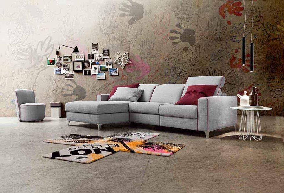 Progetto divano grigio con penisola