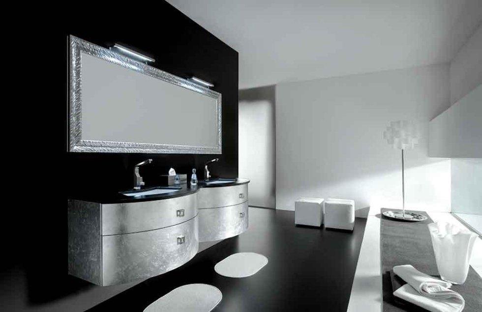 Progetto mobile bagno foglia argento
