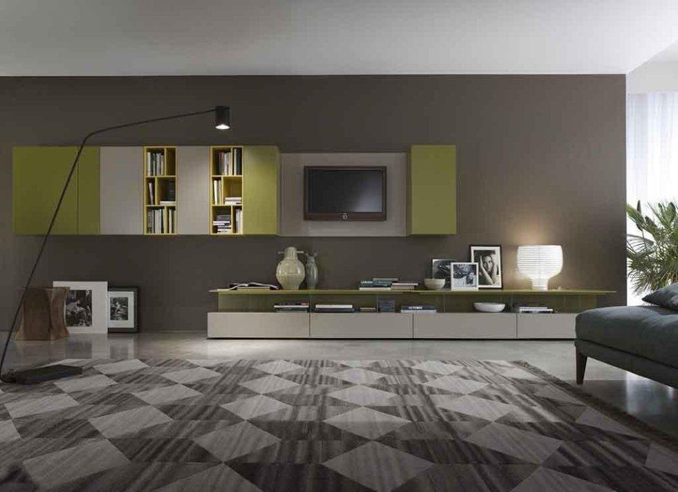 Progetto mobili soggiorno bicolore